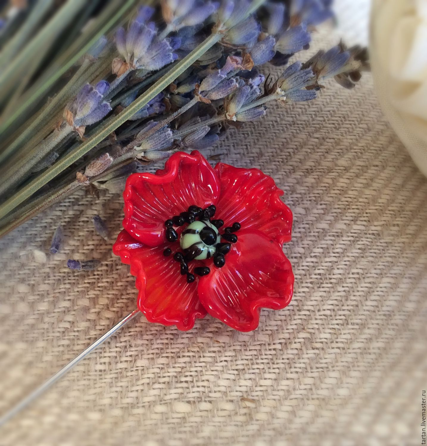 e6cf84cf94f POPPY BEADED SAFETY-PIN BROOCH Brooches & Pins Costume Jewellery