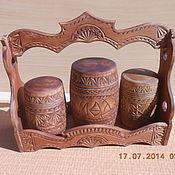 Посуда ручной работы. Ярмарка Мастеров - ручная работа резной деревянный набор для специй. Handmade.