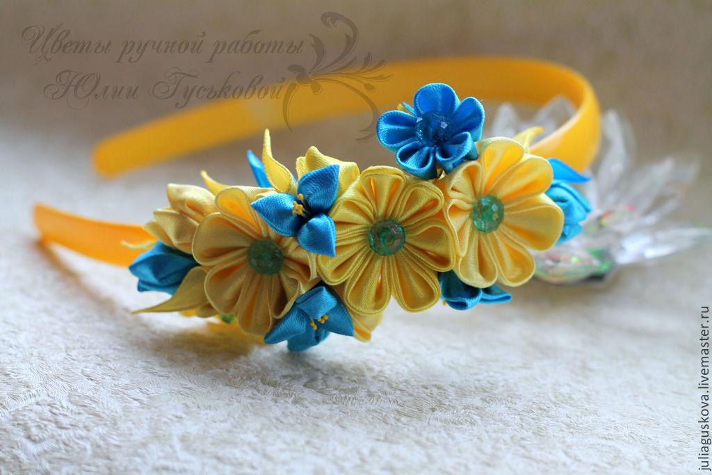 Цветы из лент на ободок своими руками мастер класс канзаши 78