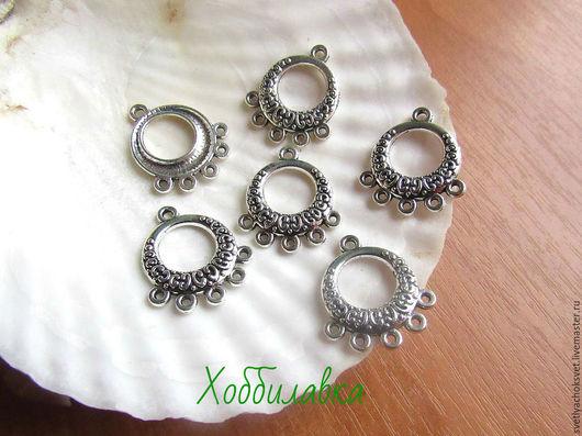Коннектор для украшений на 5 нитей. Размер 21x 19 Толщина металла 2 мм цвет тибетское серебро материал: цинковый сплав