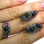 Украшения handmade. Livemaster - original item Set of earrings and a ring with natural tourmaline. Handmade.