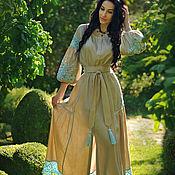 Одежда handmade. Livemaster - original item Linen floor-length dress with hand embroidery