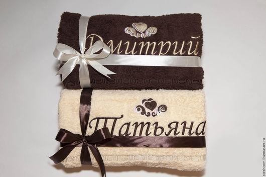 Для дома и интерьера ручной работы. Ярмарка Мастеров - ручная работа. Купить Именные полотенца (набор на свадьбу, годовщину, юбилей, день рождения). Handmade.