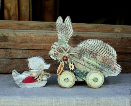 """Игрушки животные, ручной работы. Ярмарка Мастеров - ручная работа. Купить Деревянные игрушки """"Заяц и уточка"""" Резерв. Handmade. Серый"""