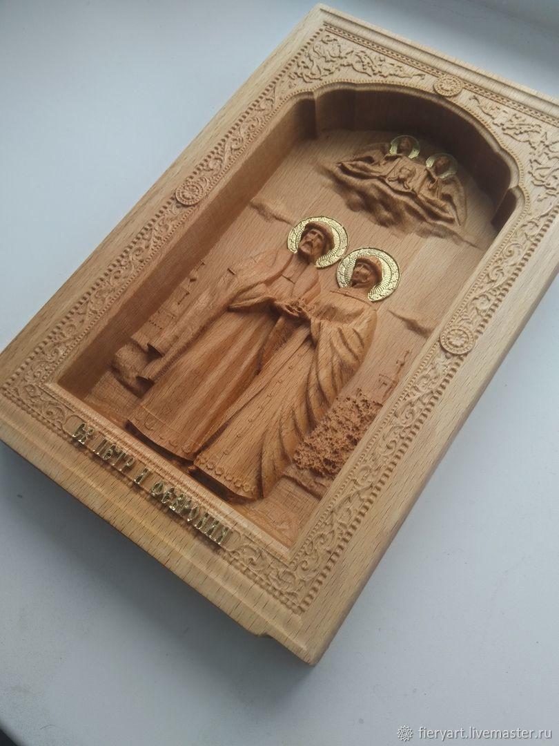 Резная икона Петр и Феврония, Иконы, Переславль-Залесский,  Фото №1