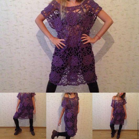 """Платья ручной работы. Ярмарка Мастеров - ручная работа. Купить Вязаное платье """" Сирень"""". Handmade. Сиреневый, платье вязаное"""