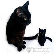 Мягкие игрушки ручной работы. Ярмарка Мастеров - ручная работа Портретная кошка Ночка, котик, котёнок, чёрный кот шерсть Cat. Handmade.