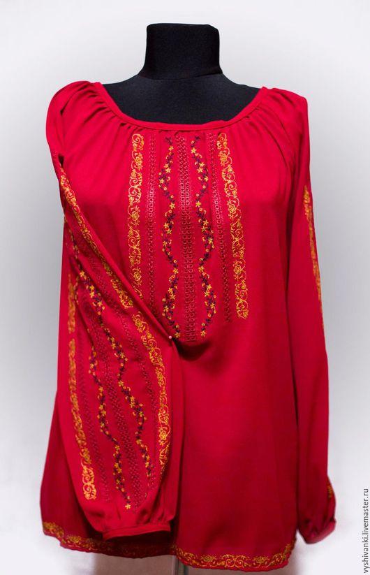 Этническая одежда ручной работы. Ярмарка Мастеров - ручная работа. Купить Женская вышиванка на шифоне. Handmade. Ярко-красный