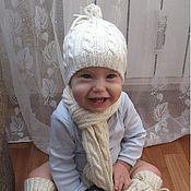 """Работы для детей, ручной работы. Ярмарка Мастеров - ручная работа Комплект """"Нежность"""" (шапочка-трансформер,шарф,гетры и варежк. Handmade."""