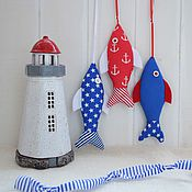 Грызунки ручной работы. Ярмарка Мастеров - ручная работа Рыбки-игрушки из ткани для оформления детской комнаты  в морском стиле. Handmade.