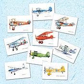 Открытки handmade. Livemaster - original item Planes Postcards Set of 9 pieces. Handmade.