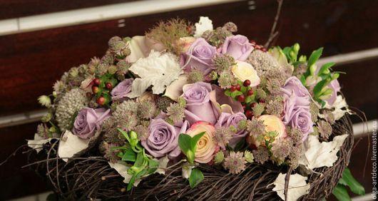 Букеты ручной работы. Ярмарка Мастеров - ручная работа. Купить букет из живых цветов. Handmade. Сиреневый, розы, каркас, ветки