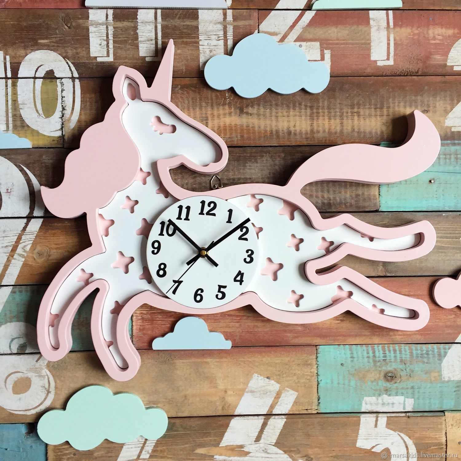 Clock Unicorn light-pink/white, Lamp, Moscow, Фото №1