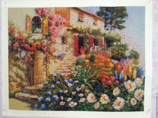 Пейзаж ручной работы. Ярмарка Мастеров - ручная работа. Купить Цветочный сад. Handmade. Комбинированный, алмазная мозаика, цветочный сад