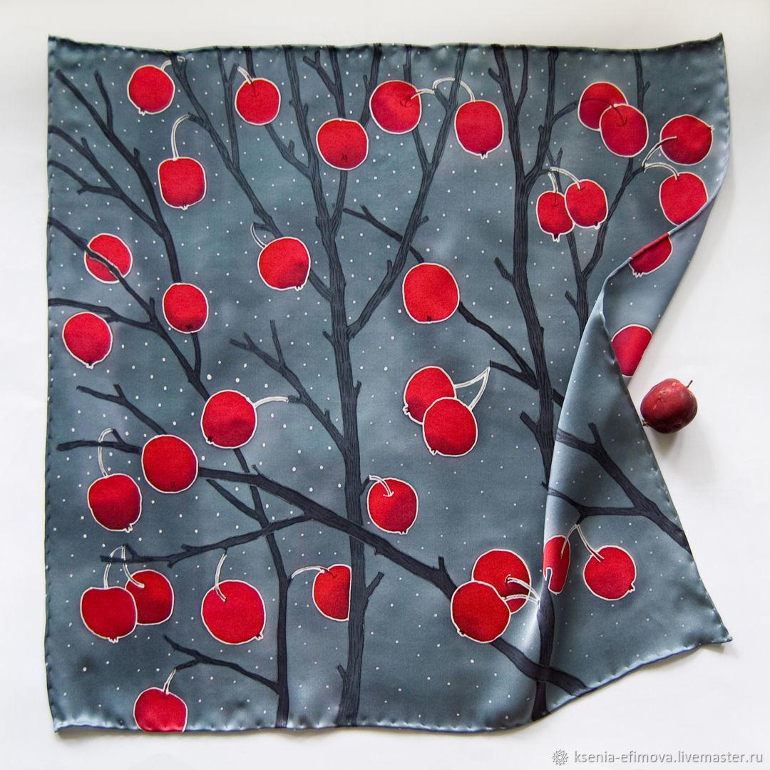 Шелковый шейный платок батик - Зимние яблоки, Платки, Москва,  Фото №1