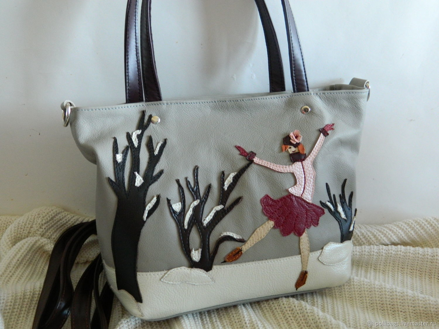 Bag leather women s bag with applique skater gray classics u shop