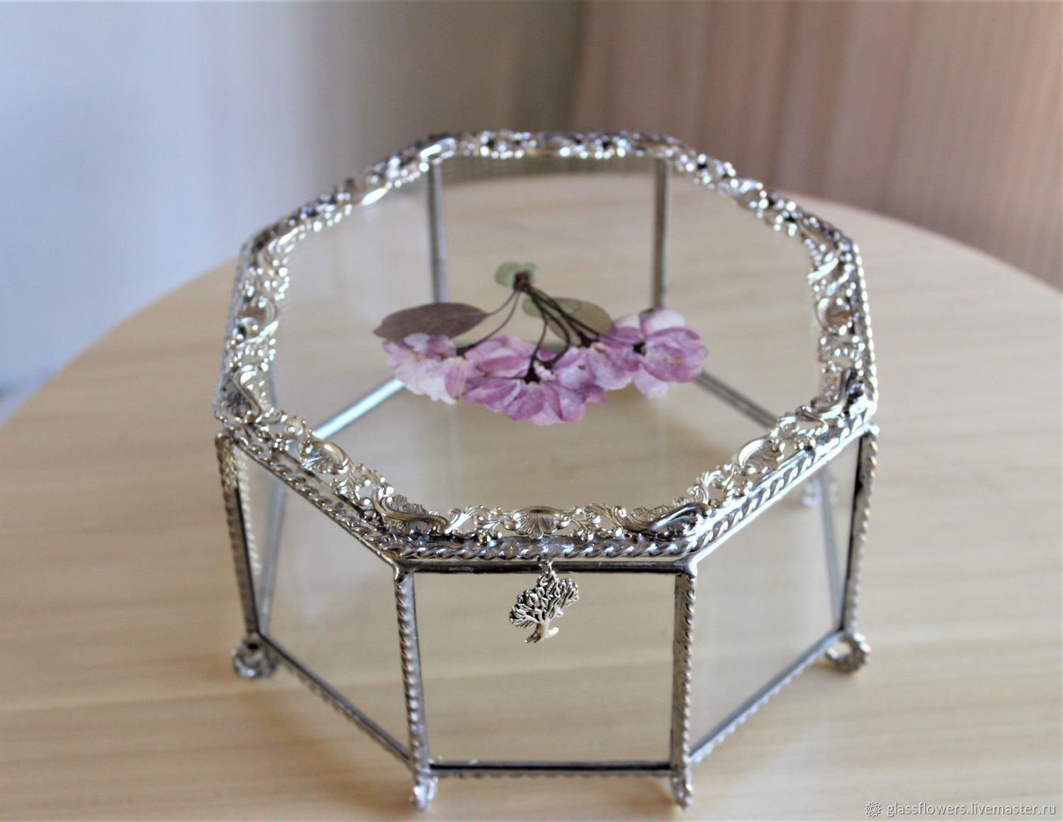 Wedding box. Jewelry box with filigree and herbarium, Caskets for rings, St. Petersburg,  Фото №1