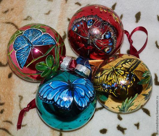 """Новый год 2017 ручной работы. Ярмарка Мастеров - ручная работа. Купить Набор елочных шаров """"Бабочки"""". Handmade. Бабочки, подарок"""