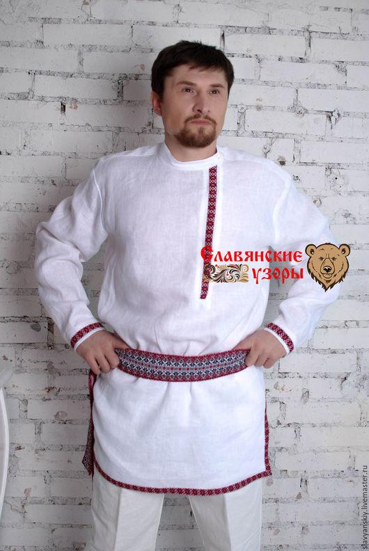 """Одежда ручной работы. Ярмарка Мастеров - ручная работа. Купить Косоворотка """"Алатырь"""" красный. Handmade. Белый, рубаха в славянском стиле"""