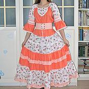 Одежда handmade. Livemaster - original item Boho style dress with ruffles long linen