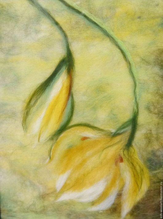 Картины цветов ручной работы. Ярмарка Мастеров - ручная работа. Купить Картина из шерсти Желтый цветок.. Handmade. Салатовый