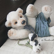Куклы и игрушки ручной работы. Ярмарка Мастеров - ручная работа Мишка Барни и щенок. Handmade.