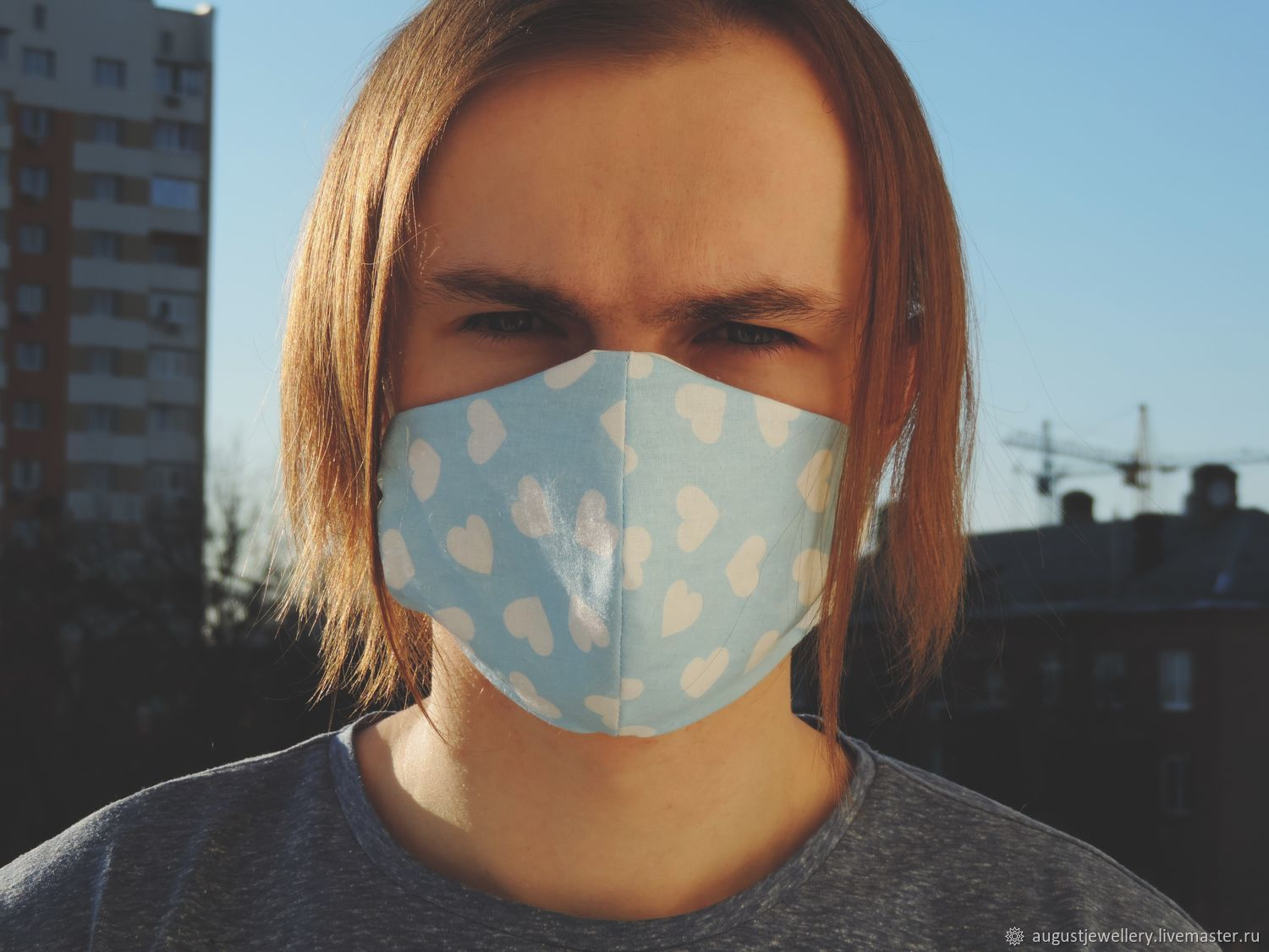 Blue reusable mouth and nose mask, Protective masks, Kharkiv,  Фото №1