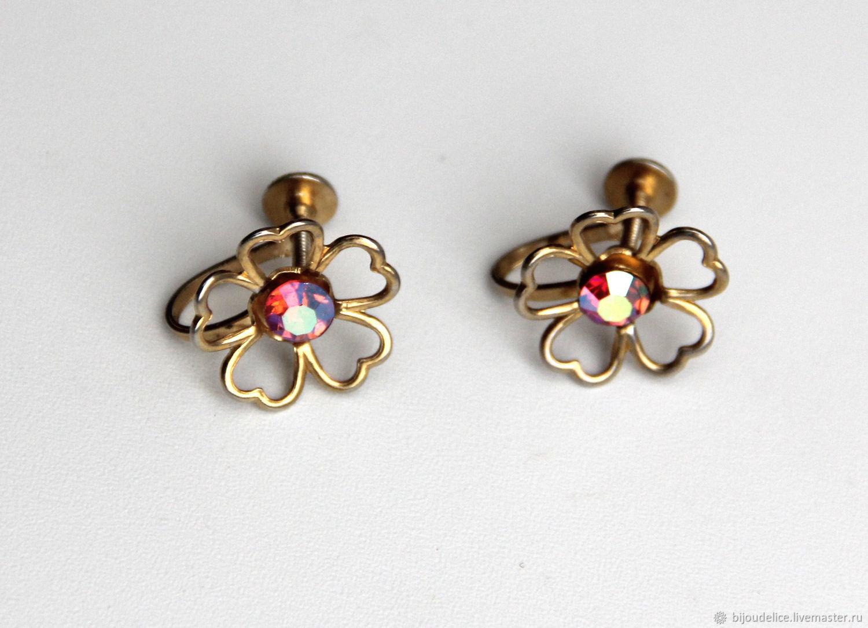 Aurora borealis Clips on earrings, Vintage earrings, St. Petersburg,  Фото №1