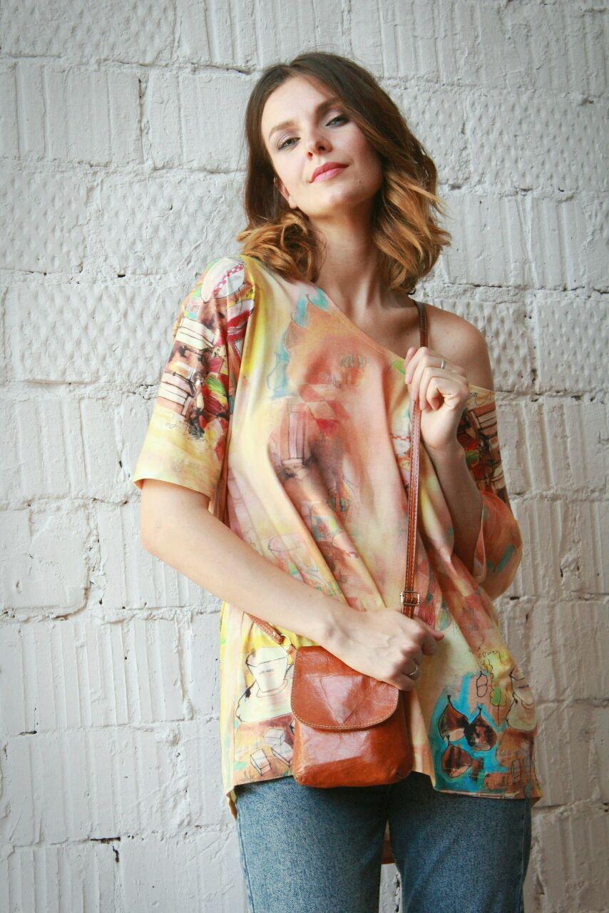 Asymmetric blouse ' Italianate', T-shirts, Moscow,  Фото №1