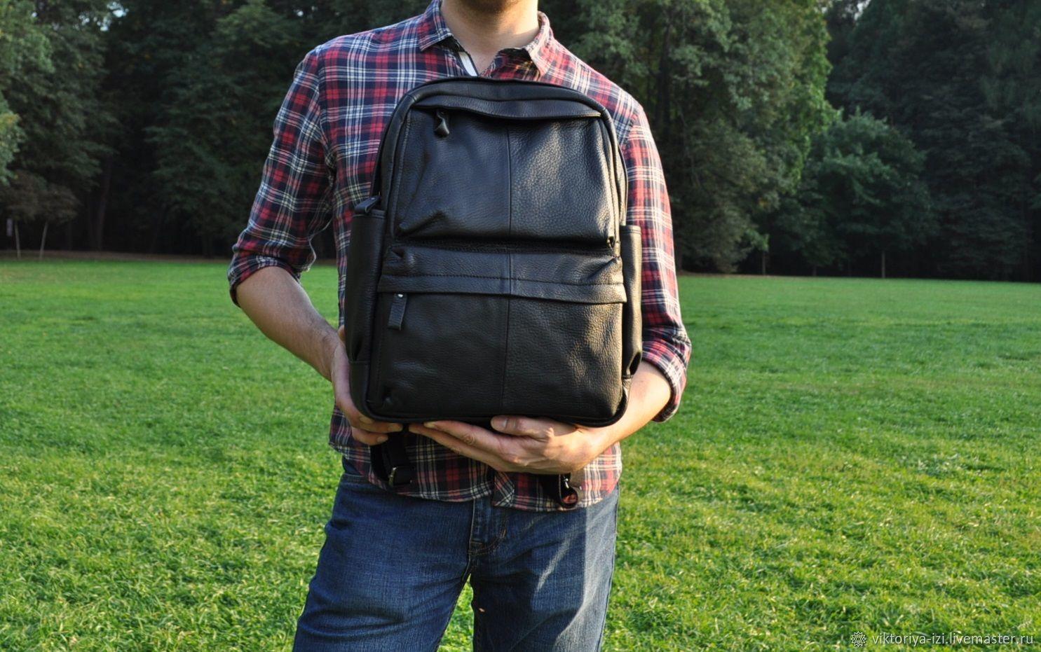 Рюкзак мужской кожаный черный, Рюкзаки, Москва,  Фото №1
