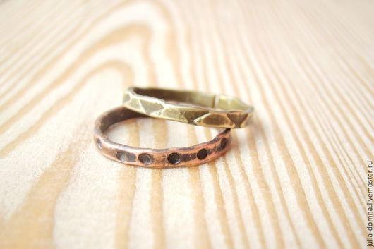 Кольца ручной работы. Ярмарка Мастеров - ручная работа. Купить Набор из Двух Колец - медь, латунь - двойное кольцо. Handmade.
