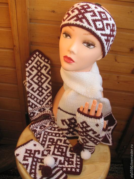 Одежда ручной работы. Ярмарка Мастеров - ручная работа. Купить Комплект ЛАДА: ободок, шарф, варежки и митенки. Handmade. Варежки