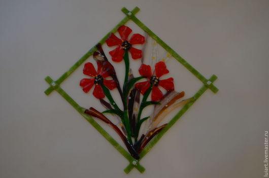 """Картины цветов ручной работы. Ярмарка Мастеров - ручная работа. Купить панно """"рай"""" фьюзинг. Handmade. Панно, панно для кухни"""