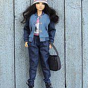 Куклы и игрушки ручной работы. Ярмарка Мастеров - ручная работа Одежда для кукол Комплект Весенний вариант Бомбер брюки галифе  джинса. Handmade.