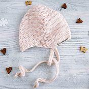 Работы для детей, handmade. Livemaster - original item cap hat for newborn baby boy crocheted, beige, 0-1 months. Handmade.