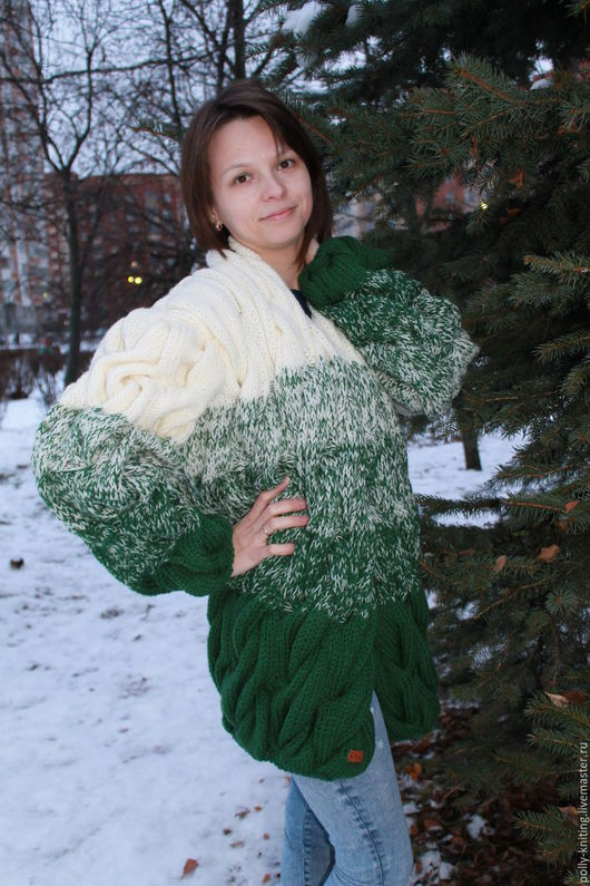 """Кофты и свитера ручной работы. Ярмарка Мастеров - ручная работа. Купить Кардиган """"Зимний лес"""". Handmade. Зеленый, акрил"""