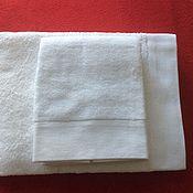 Полотенца ручной работы. Ярмарка Мастеров - ручная работа Белые махровые полотенца 50x90 см. Handmade.