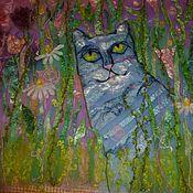 Для дома и интерьера ручной работы. Ярмарка Мастеров - ручная работа Валяное детское одеяло Котенька- коток. Handmade.