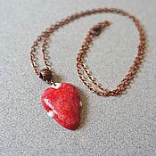 Подвеска ручной работы. Ярмарка Мастеров - ручная работа Кулон Сердце, Красный Кулон, Сердечко Подвеска, Красное Сердце. Handmade.