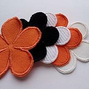 Аппликации ручной работы. Ярмарка Мастеров - ручная работа Нашивка вышитая цветок  четыре цвета.. Handmade.