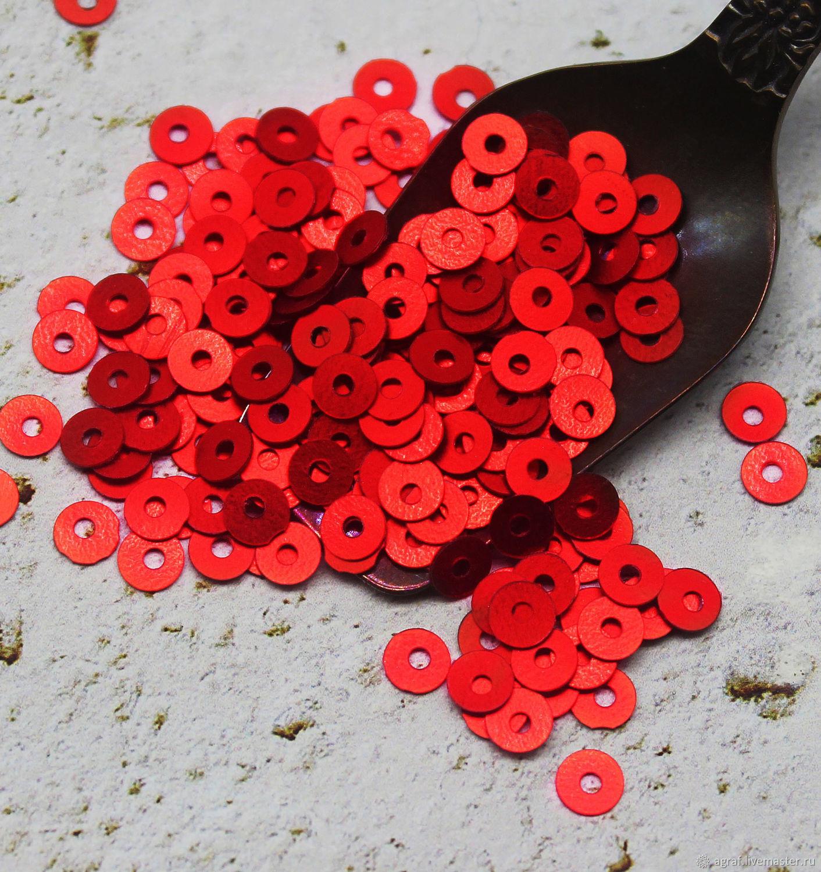 Пайетки круглые 4 мм  Красный полуматовый 19, Пайетки, Соликамск,  Фото №1