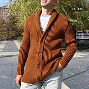 Мужская одежда handmade. Livemaster - original item Men`s jackets: Men`s cardigan with buttons brick. Handmade.