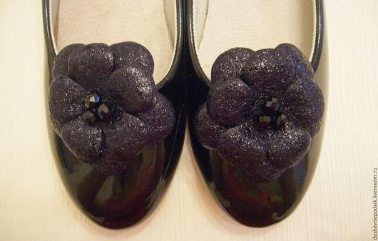 """Украшения для ножек ручной работы. Ярмарка Мастеров - ручная работа. Купить Кожаные броши для обуви """"Амели"""". Handmade. Черный"""