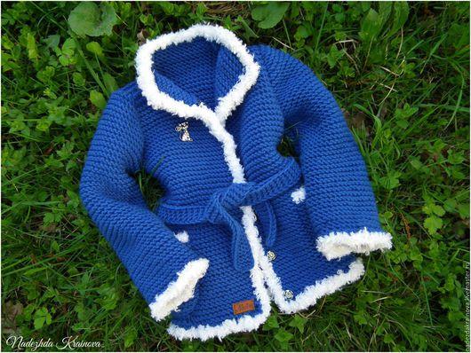Одежда для девочек, ручной работы. Ярмарка Мастеров - ручная работа. Купить Детский кардиган. Handmade. Синий, для девочки