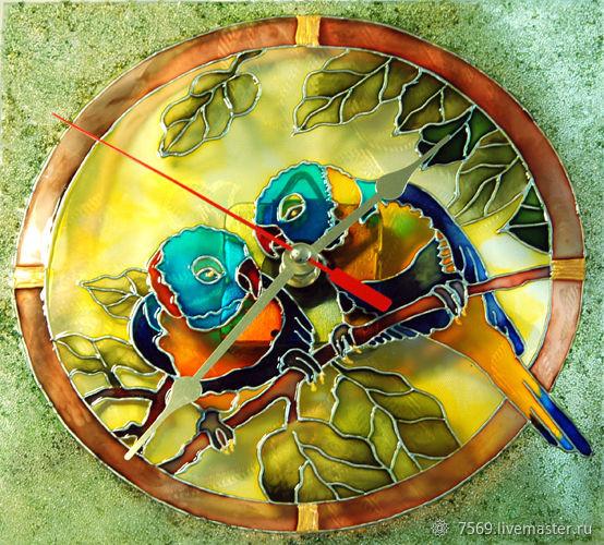 """Часы настенные """" Попугайчики"""", Часы классические, Санкт-Петербург,  Фото №1"""