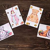 Открытки ручной работы. Ярмарка Мастеров - ручная работа Набор акварельных открыток тедди игрушки. Handmade.