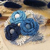 """Украшения ручной работы. Ярмарка Мастеров - ручная работа """"Колокольчики"""" бохо брошь цветок синий голубой. Handmade."""