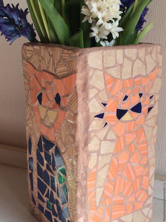 Вазы ручной работы. Ярмарка Мастеров - ручная работа. Купить Ваза декорированная мозаикой. Handmade. Ваза, ваза ручная работа