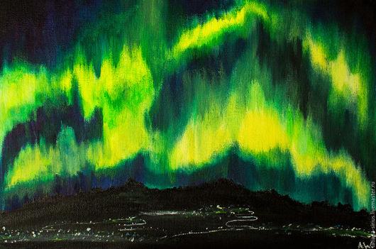 """Пейзаж ручной работы. Ярмарка Мастеров - ручная работа. Купить Картина масляными красками """"Ultraviolet City"""". Handmade. Ярко-зелёный"""