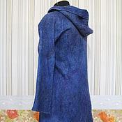 """Одежда ручной работы. Ярмарка Мастеров - ручная работа Кардиган валяный с капюшоном """"королевский синий"""". Handmade."""